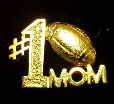 #1 Football Mom Sports Gold Mother Lapel Hat Pin Number One Brooch Gift #Y5XF