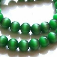 100 x 4mm Cat's Eye Round Beads - EMERALD GREEN - A3714