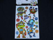 planche de stickers décoration enfant en reliefs métallisés robots