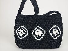 Vintage made in Japan Purse Woven Beaded Black White Straw Shoulder Bag