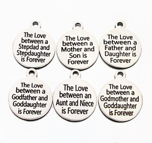 Message Charms  * many to choose from * Shiny Engraved jewellery making disc