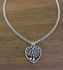 Silver Tone Heart Tree Of Life Pendent Necklace, Great Gift