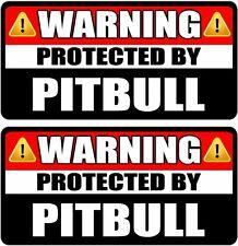 "2 - 4"" x 2"" Pitbull Warning Protection Dog Decal Set Guard Vinyl Sticker Ws3"