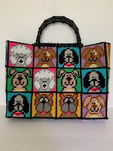 Dog Purse Hand Crafted Needlework Poodle Boxer Hound Others Colorful Puppy Purse