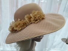 Vintage 70s 80s LADIES Flaxen Yellow formal vintageparty HAT size M 56 cm Easlex
