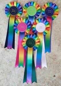 WELL DONE Rainbow Rosettes Dog Show, horse pony gymkhana NHS prize