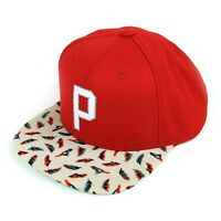 Primitive Snapback Hat Red Tan Birds Feathers Sample Not For Sale Wool Acrylic