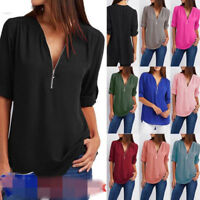 Chiffon Casual Long Sleeve Blouse Ladies Shirt Tops Loose Plus Size Womens