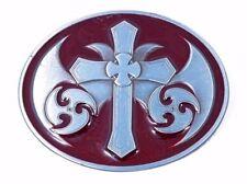 Belt Buckle - Celtic Cross Style on Red Enamel Background. Biker Belt Buckle