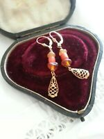 Antique vintage Baltic amber + natural coral beads EARRINGS 14K by BoffinBeads