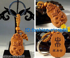 Hot! Classic Fine Carved Wooden Zodiac Dragon keychain keyring (Lucky Dragon)