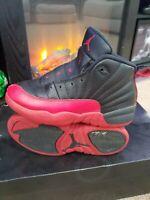 🔥Nike Air Jordan XII 12 Retro Flu Game Black Red 151186-002 Sz 2Y