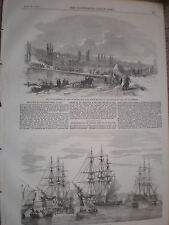 Pontoon bridge building experiment at Joinville-le-pont France 1854 old  print