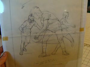 Original FOSTER CADDELL Drawing: Basketball kids, pivot & pass