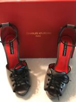 Charles Jourdan Women's Shoes Rainy Grey Leather Peep Toe Pumps Heels Size 7
