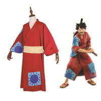 Anime One Piece Monkey D Luffy Kimono Cosplay Costume Red Dress Halloween Suit