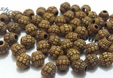 100 x New Imitation Wood effect Plastic Drum Jewellery Loose Spacer Beads 6x5mm