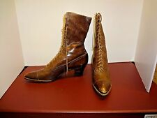 Vintage antique Victorian Edwardian two tone brown leather  boot shoes SM