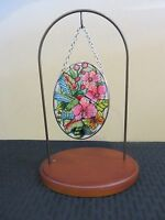 """Amia Stained Glass Suncatcher Small Oval Hummingbird Orchard 42379 4.25"""" x 3.25"""""""