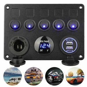 5 Gang Electrical Control Panel Switch USB Marine Boat 12V Caravan Motorhomes IA