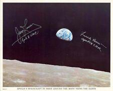 "Apollo 8 Earthrise signed by Jim Lovell and Frank Borman 8""x10"" Original Nasa Ph"