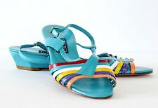 Amalfi 'Alora' Teal/Multi leather Wedge Sandals Made in Italy 9M