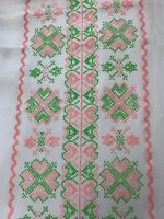 """Vintage Material 138"""" x 46"""" Pink, Green, and White"""