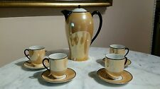 Antique Krister Silesia Iridescent Lusterware Porcelain Coffee Chocolate Set