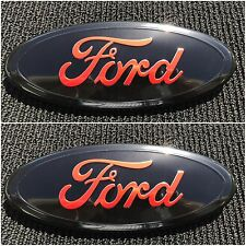 2004 - 2014 FORD F-150 RED OVAL FRONT GRILLE & REAR TAIL GATE 9 INCH LOGO SET