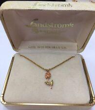 """LANDSTROM'S Black Hill Flower 10K PENDANT Charm & 12k Gold Filled 18"""" Chain"""