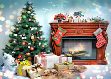 Christmas Tree Gift Snowman Wood Fireplace Backdrop 7x5ft Vinyl Photo Background