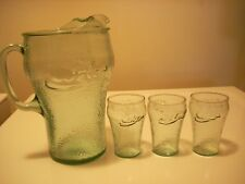 Coca Cola Green Glass Coke Large Pitcher 3 Small Juice Tea Glasses Wavy Pattern