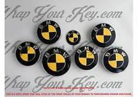 Negro y Amarillo Fibra de Carbono Emblema Insignia Revestido Cubierta para BMW @