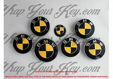 BLACK & YELLOW CARBON FIBER Badge Emblem Overlay WRAP FOR BMW @FITS ALL BMW@