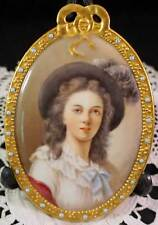 Vintage Hand Painted Gda France Porcelain Miniature Portrait Plaque of a Lady