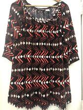Woman's L Worthington Stretch Black Coral Diamond Dress EUC
