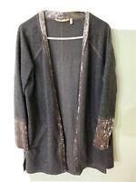 Soft Surroundings Vesper Gray Velvet Trim Sweater Topper Cardigan Pockets Large