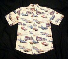 Clearwater Men's 100% Cotton Yellow Car Print Hawaiian Shirt Size S