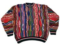 Vintage 90's Cotton Traders Mens M Biggie Coogi Style Sweater 3D Textured Colors