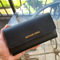 NWT MICHAEL KORS JET SET TRAVEL LEATHER LARGE TRIFOLD WALLET Flat  BLACK