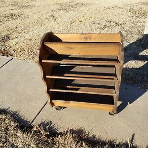"Quilt Rack (holds 6 quilts) Primitive Vintage LG Wood Dovetail Rolling 32 x 22"""
