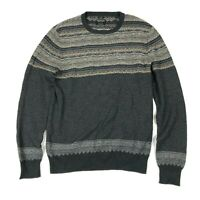 All Saints Knit Jumper Scafell Fair Isle Nordic Cotton Cashmere Grey Small