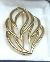 Monet Pin Cast Goldtone Piercedwork Large leaf Brooch