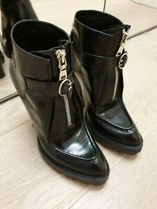 PRADA runway lug sole ankle boots creepers in black leather and rubber IT 37