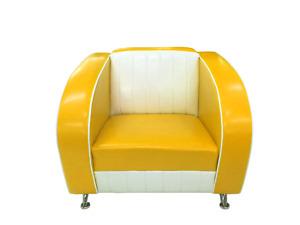 Amercian Dinersessel Modell Colorado  gelb-weiß 100cm Fifties-Sixties Retro