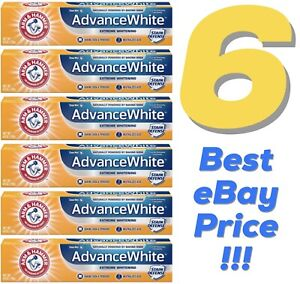 6 ARM HAMMER Advance White Stain Toothpaste Lot Baking Soda Dental Care WOW