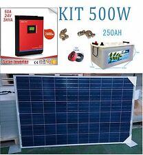 Kit Solare 24v 500w Tempo Invertitore 3000va Batteria Monoblock 250Ah