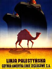 PRINT ADVERT TRAVEL TOURISM LINER SHIP CAMEL DESERT POLAND PALESTINE NOFL0548