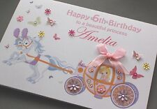 A5 Handmade Personalised PRINCESS CARRIAGE Birthday Card daughter sister niece..