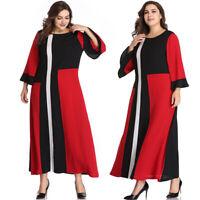 Women Plus Size Maix Dress Evening Cocktail Skirt Long Sleeve Casual Clothing